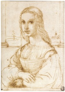 Fig. 6   Raphael 'Young Woman on a Balcony', pen & ink sketch, c. 1504, Louvre Museum, Paris.